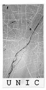 Munich Street Map - Munich Germany Road Map Art On Colored Backg Beach Towel