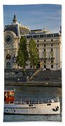 Musee D'orsay Along River Seine Beach Towel