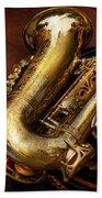 Music - Brass - Saxophone  Beach Towel by Mike Savad