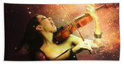 Music Explodes In The Night Beach Towel