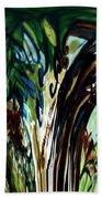 Music In Bird Of Tree Drip Painting Beach Towel