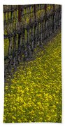 Mustrad Grass In The Vineyards Beach Towel by Garry Gay