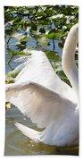 Mute Swan Wings Beach Towel