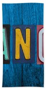 My Fancave License Plate Letter Vintage Phrase Artwork On Blue Wood Beach Towel