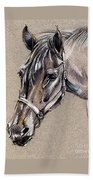 My Horse Portrait Drawing Beach Towel