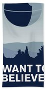 My I Want To Believe Minimal Poster-deathstar Beach Towel