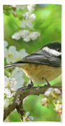 My Little Chickadee In The Cherry Tree Beach Towel by Jennie Marie Schell