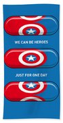 My Superhero Pills - Captain America Beach Sheet