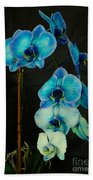 Mystique Blue Orchids Beach Towel