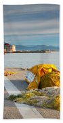 Nafplio Fishing Harbour Beach Towel