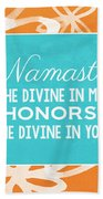 Namaste Watercolor Flowers Beach Towel