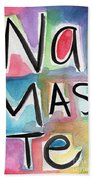 Namaste Watercolor Beach Towel by Linda Woods