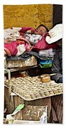 Nap Time For Child And Street Shopkeeper In Lhasa-tibet   Beach Towel