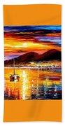 Naples-sunset Above Vesuvius - Palette Knife Oil Painting On Canvas By Leonid Afremov Beach Towel