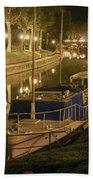 Narbonne France Canal De La Robine At Night Dsc01657  Beach Towel