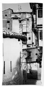 Narrow Streets Of Albarracin  Black And White Beach Towel
