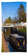 Narrowboat In Lock Beach Towel