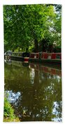 Narrowboats Moored On The Wey Navigation In Surrey Beach Towel