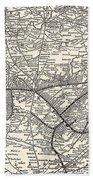 Nashville Railway Map Vintage Beach Towel
