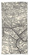Nashville Railway Map Vintage Beach Sheet