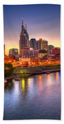 Nashville Skyline Beach Towel by Brett Engle