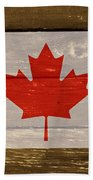 Canada National Flag On Wood Beach Towel