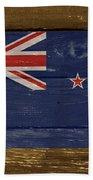 New Zealand National Flag On Wood Beach Towel