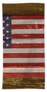 United States Of America National Flag On Wood Beach Towel