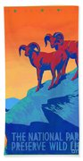 National Parks Wild Life Poster Beach Towel