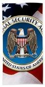 National Security Agency - N S A Emblem Emblem Over American Flag Beach Towel