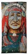 Native American Wood Carving Beach Towel