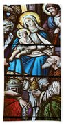 Nativity Stained Glass Beach Towel