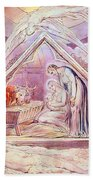 Nativity With Two Angels Beach Towel