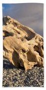 Naturally Sculpted Waterworn Wood On Pebble Beach Beach Towel