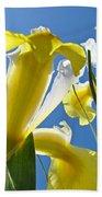 Nature Art Prints Yellow White Irises Flowers Beach Towel
