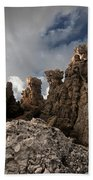 A Stunning Rock Wall Becomes A Wild Nature Sculpture In North Coast Of Minorca Europe Beach Towel