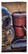 Nautical - Antique Dive Helmet Beach Towel
