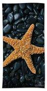 Nautical - Starfish On Black Rocks Beach Towel