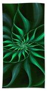 Nautilus Fractalus Verdant Green Beach Towel