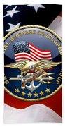 Naval Special Warfare Development Group - D E V G R U - Emblem Over U. S. Flag Beach Towel