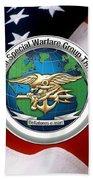 Naval Special Warfare Group Three - N S W G-3 - Over U. S. Flag Beach Towel