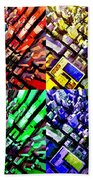 Neo Pop Art Urbanscape New York Sky View Beach Towel