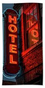 Neon Sign For Hotel In Texas Beach Towel