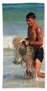Net Fisherman In Tulum Beach Towel