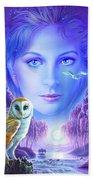 New Age Owl Girl Beach Towel