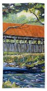 New England Covered Bridge By Prankearts Beach Towel