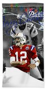 New England Patriots Christmas Card Beach Sheet