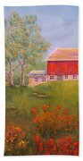 New England Red Barn Summer Beach Sheet