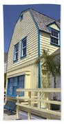 New England Style Building At Fisherman's Village Marina Del Rey Los Angeles Beach Towel