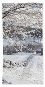 New England Winter Farms Beach Towel